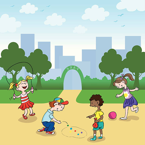 Cute kids Playing in Park vector art illustration