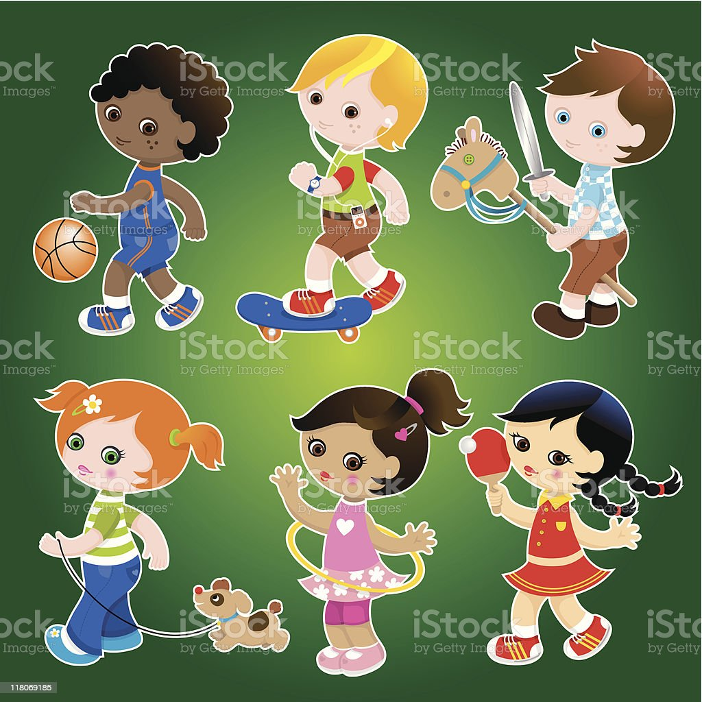 Cute kids playing set royalty-free stock vector art