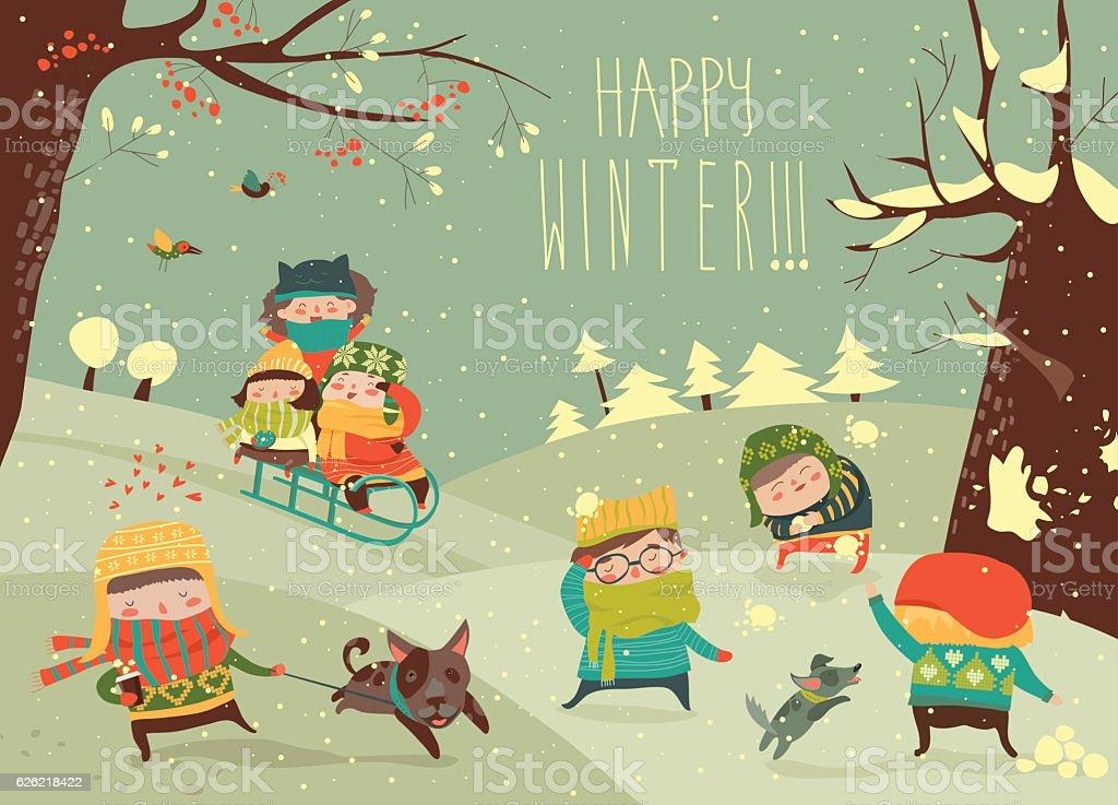 Cute kids playing winter games - ilustração de arte em vetor