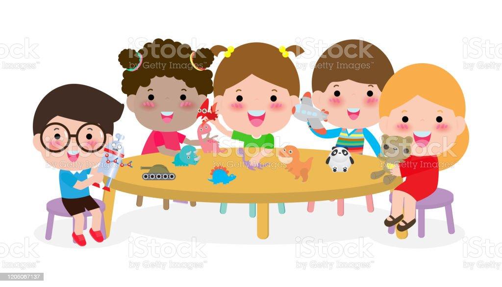 Glückliche Kinder Spielen Mit Spielzeug Stock Vektor Art und
