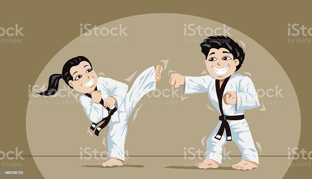 Linda crianças praticando artes marciais - ilustração de arte em vetor