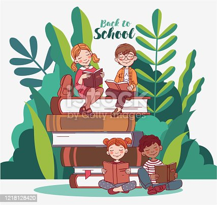 istock Cute kids reading books in the garden. Back to school vector concept. Nature landscape background. Summer holidays illustration. Vacation time 1218128420