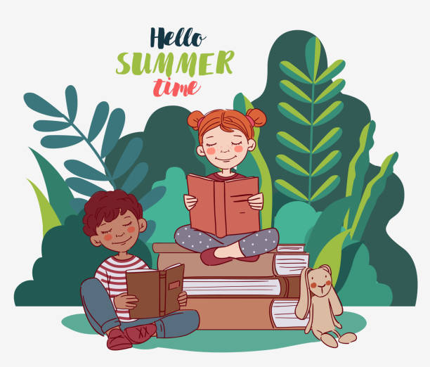 stockillustraties, clipart, cartoons en iconen met leuke jonge geitjes die boeken in de tuin lezen. de achtergrond van het aardlandschap. de vakantieillustratie van de zomervakantie. vakantietijd - mini amusementpark