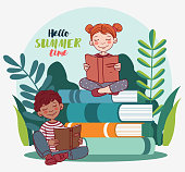 istock Cute kids reading books in the garden. Nature landscape background. Summer holidays illustration. Vacation time 1226691556