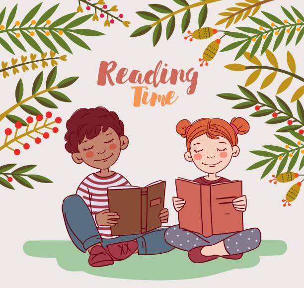 stockillustraties, clipart, cartoons en iconen met schattige kinderen lezen boeken in de tuin - mini amusementpark