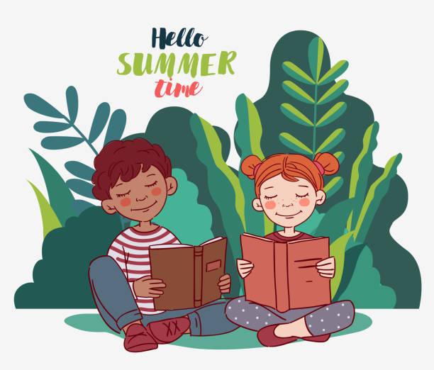 stockillustraties, clipart, cartoons en iconen met leuke jonge geitjes die boeken in de tuin lezen - mini amusementpark