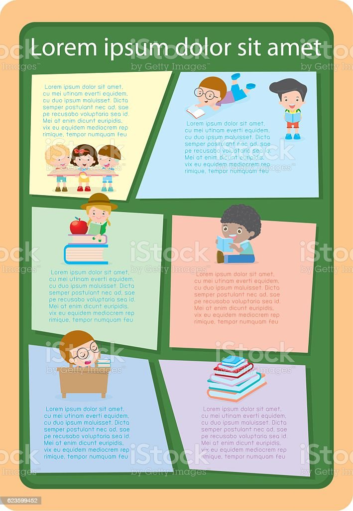 Cute kids reading books template for advertising for Brochure template for kids