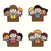 Cute Kids Reading.