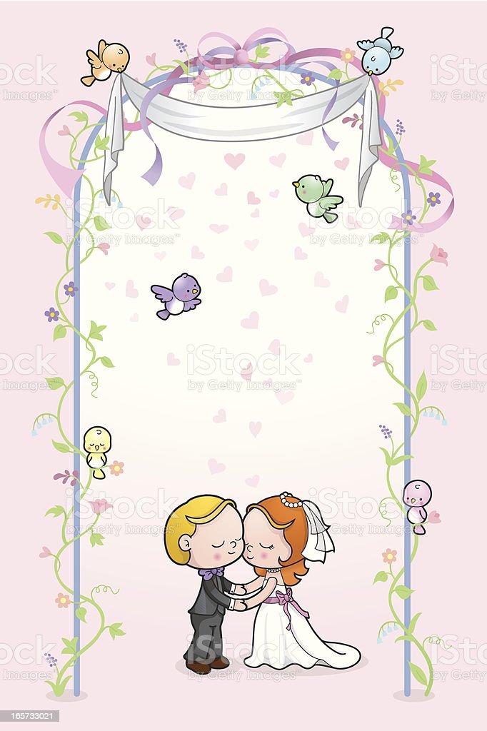 Cute kids romantic wedding card vector art illustration
