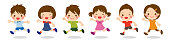 Cute kids running together with different face expressions