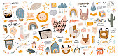 istock Cute kids scandinavian characters set including trendy quotes and cool animal decorative hand drawn elements 1218711534