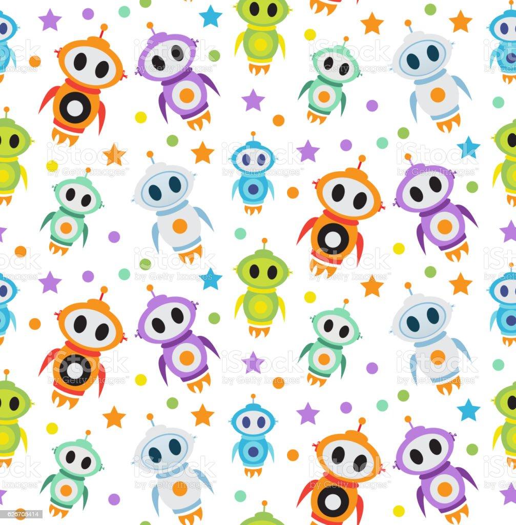 cute kids seamless pattern robot rocket children endless