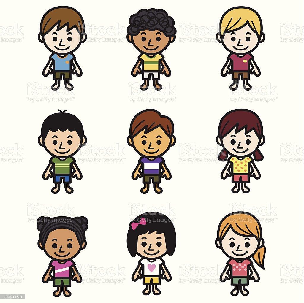 Cute Kids vector art illustration