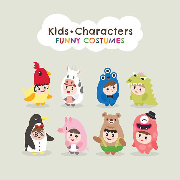 cute kids wearing animal costumes cute kids wearing animal costumes isolated cartoon illustration animal costume stock illustrations