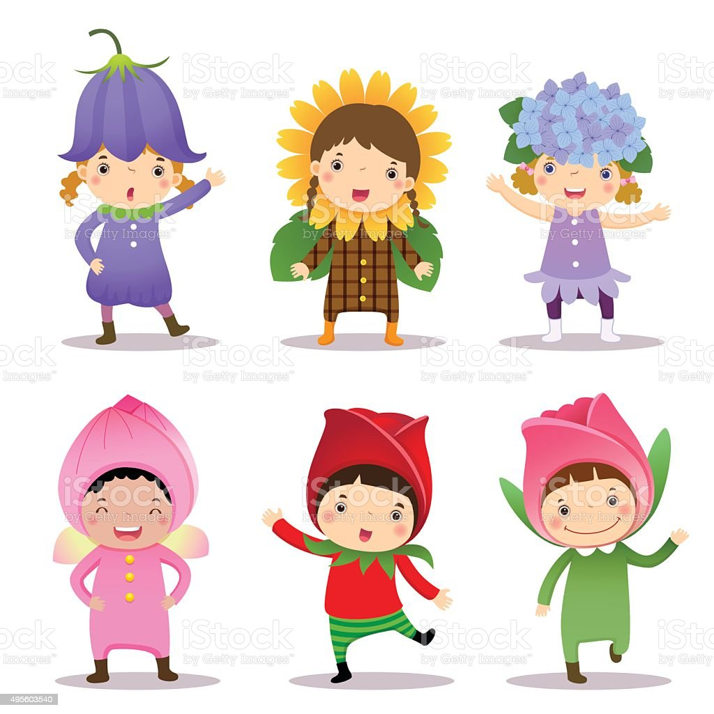 Cute kids wearing flowers costumes stock vector art more images of cute kids wearing flowers costumes royalty free cute kids wearing flowers costumes stock vector art izmirmasajfo