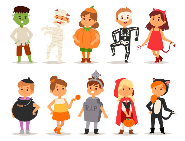 cute kids wearing halloween party costumes vector - animal skeleton stock illustrations