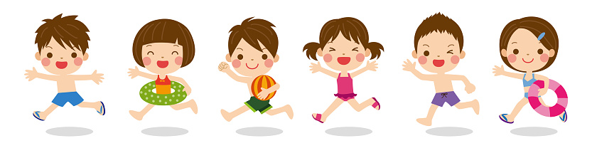 Cute kids wearing swimsuits running together, image of summer