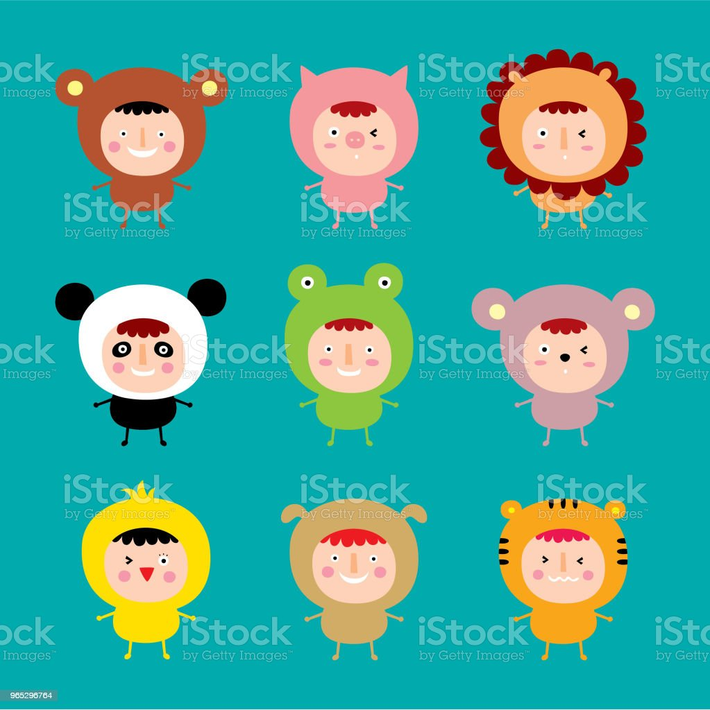cute kids with animals costume vector cute kids with animals costume vector - stockowe grafiki wektorowe i więcej obrazów baby shower royalty-free