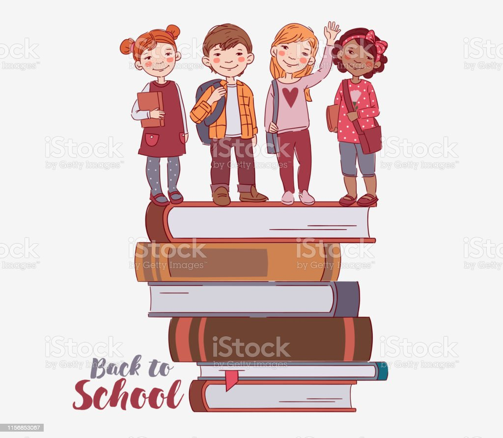 Cute kids with books. Back to school vector concept. Happy boys and...