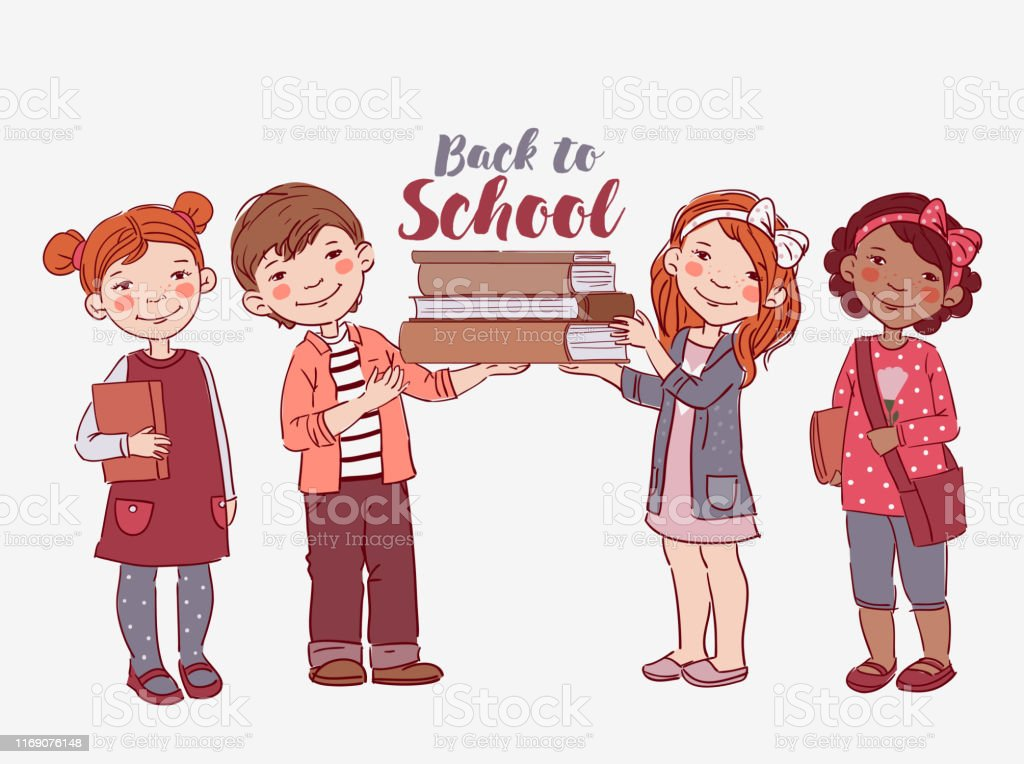 Cute kids with books. Back to school vector concept