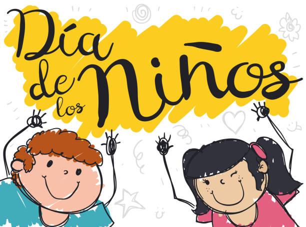 stockillustraties, clipart, cartoons en iconen met schattige kinderen met handen hoog voor children's day in het spaans - kinderdag