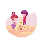 Cute kids with sandcastle vector illustration. Cartoon kids, children at seaside. Siblings, brother and sister, friends. Beach, outdoor activities. Playing in sand, childhood leisure time flat drawing