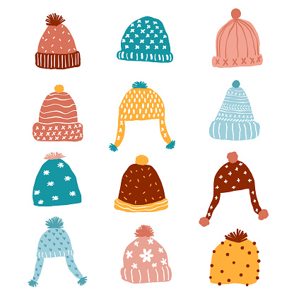 cute kintted beaning winter hat pastel clip art set, pink, blue, yellow