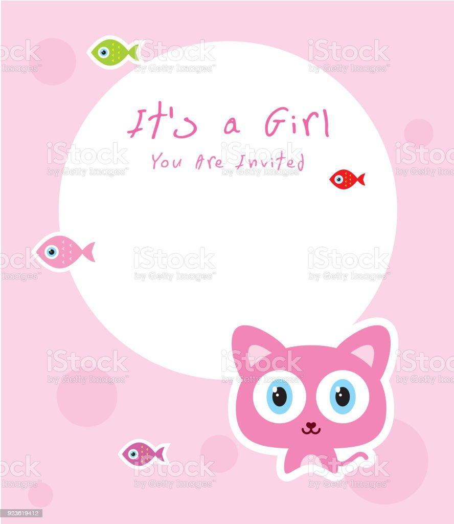 cute kitten baby arrival announcement card stock vector art more
