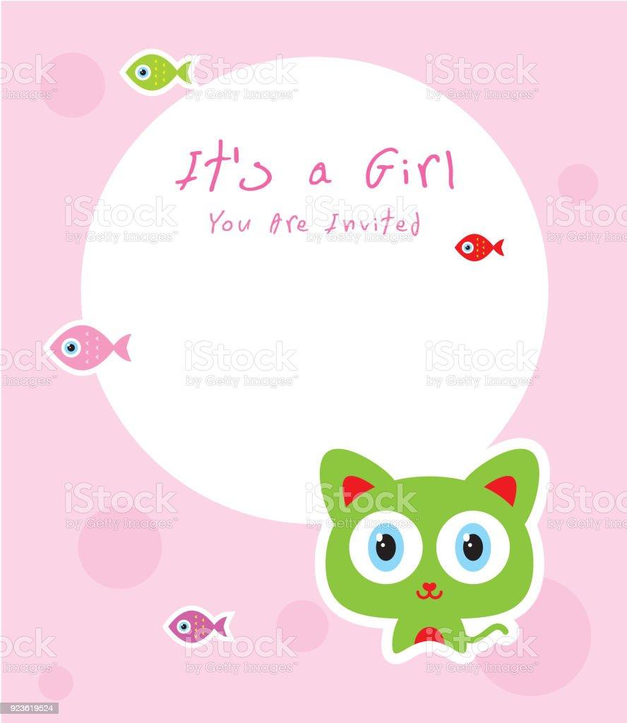Cute Kitten Baby Arrival Announcement Card Stock Vector Art More - Baby arrival announcement