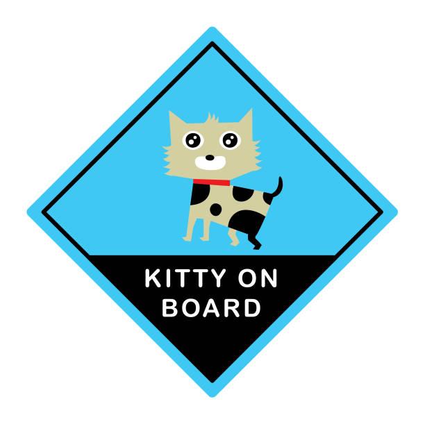 süße Kätzchen-Katze an Bord Aufkleber Vektor Karte – Vektorgrafik