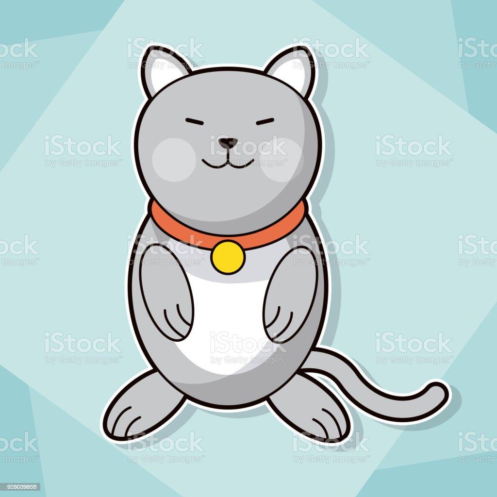 Süße Kätzchen Halsband Katze Haustier Bild Stock Vektor Art und mehr ...