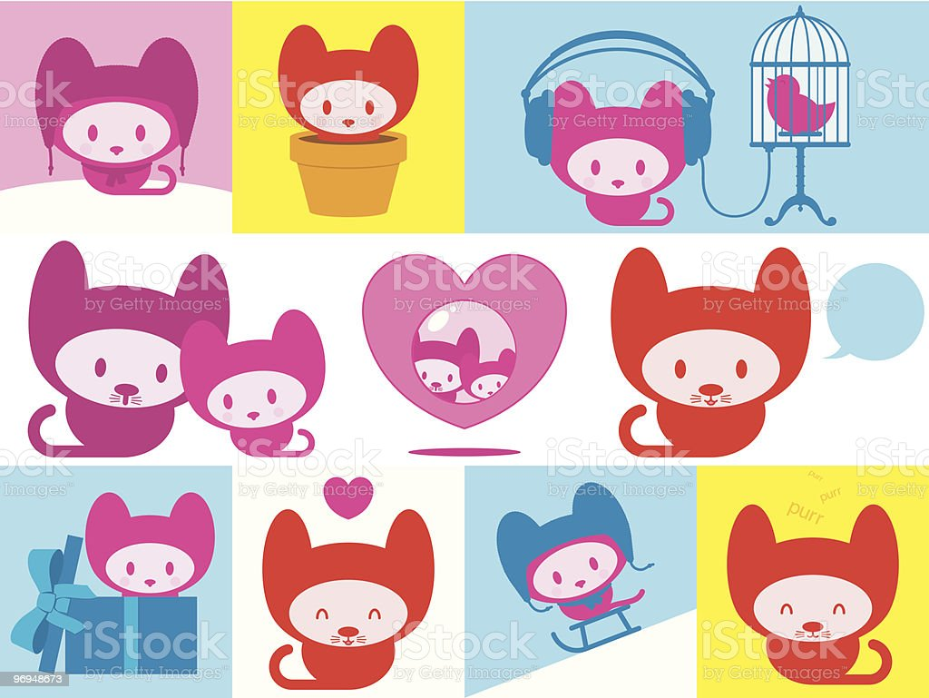 Cute kitten collection royalty-free cute kitten collection stock vector art & more images of animal
