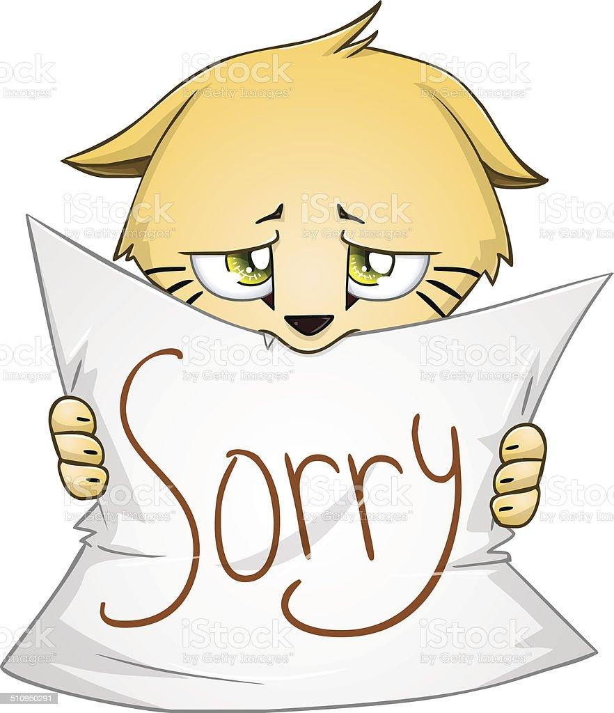 Süße Kätzchen Hält Zeichen Unserer Entschuldigung Stock Vektor Art ...