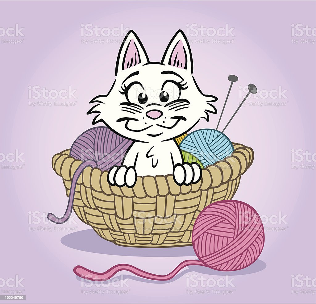Cute Kitten In Basket royalty-free cute kitten in basket stock vector art & more images of animal