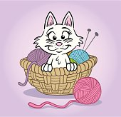 Looks like someone's in trouble! Cute kitten sitting in knitting basket playing with yarn. Great illustration for a greeting card! EPS and JPEG files included. Be sure to view my other illustrations - thanks!