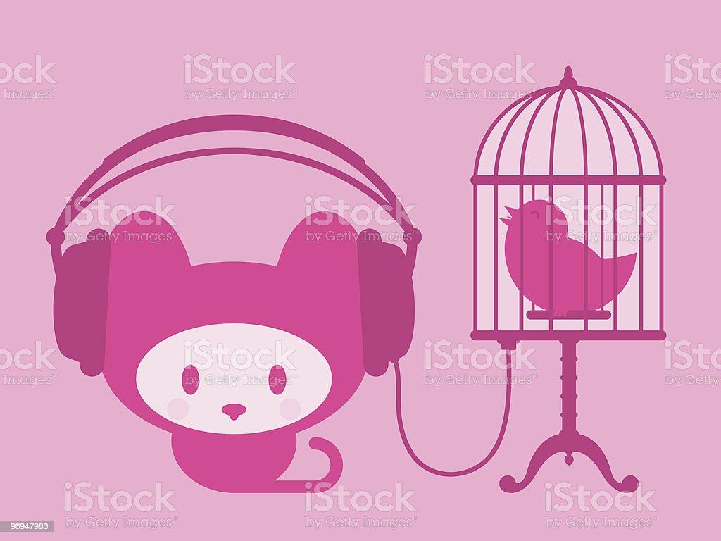 Cute kitten listening to singing bird royalty-free cute kitten listening to singing bird stock vector art & more images of animal