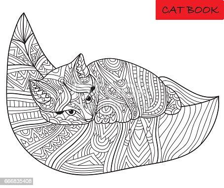 istock Ilustración de vector dibujado a mano de gato garabato y flores ...
