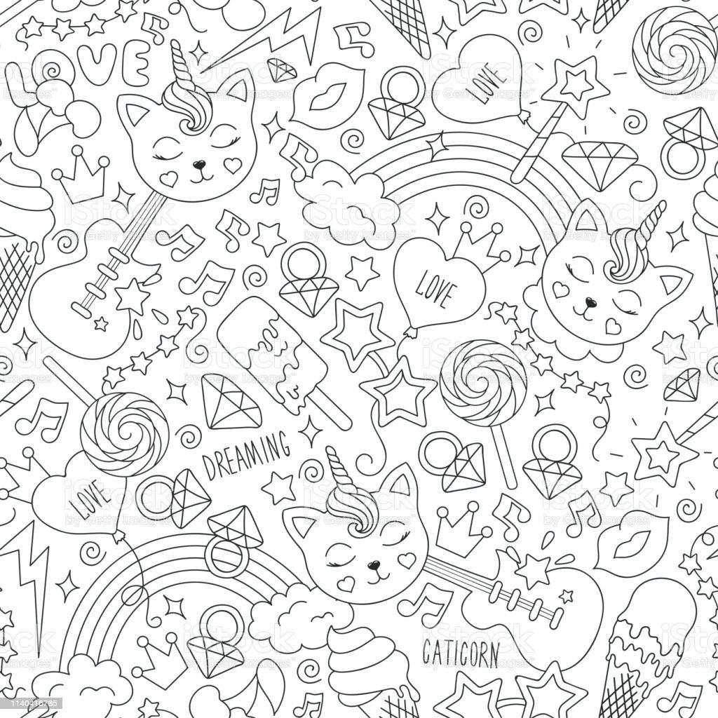 Cute Kitten Unicorn Pattern On A White Background Black And
