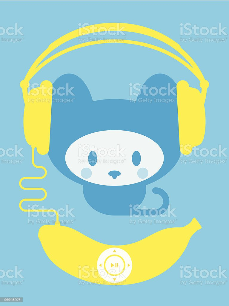 Cute kitten with banana music player royalty-free cute kitten with banana music player stock vector art & more images of animal