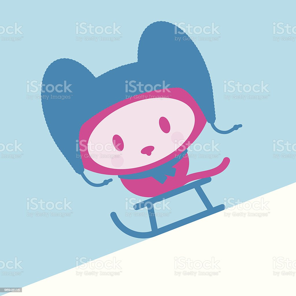 Cute kitten with cap and scarf  on sled - vector royalty-free cute kitten with cap and scarf on sled vector stock vector art & more images of animal