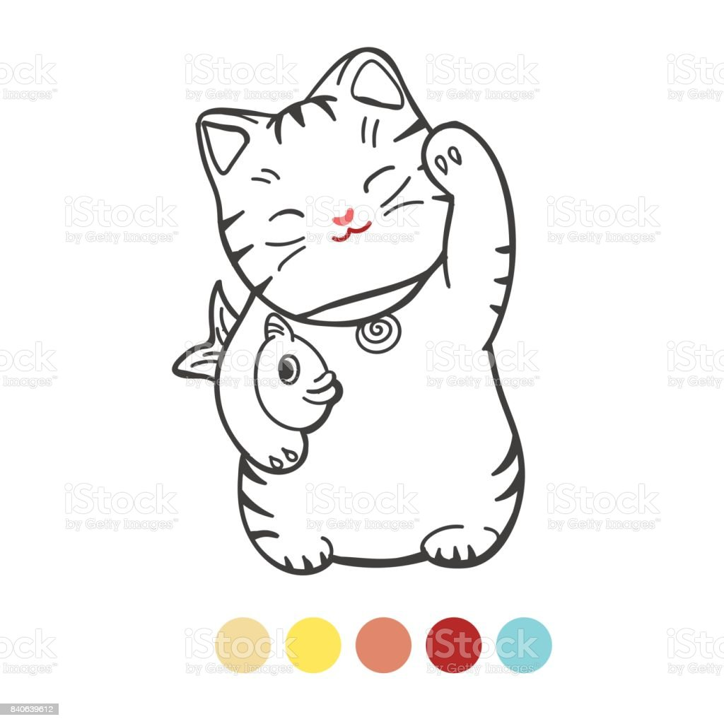 Cute Kitten With Fish Coloring Page Stock Illustration Download