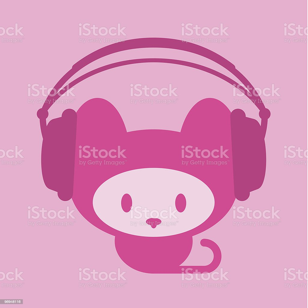 Cute kitten with headphones royalty-free cute kitten with headphones stock vector art & more images of animal
