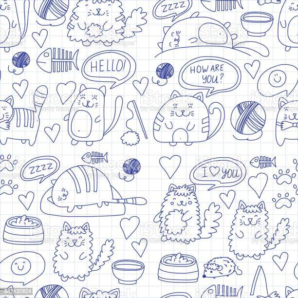 Cute kittens cat icons kids drawing children drawing doodle domestic vector id842432624?b=1&k=6&m=842432624&s=612x612&h=rd9dft5fn 7xq0vk88gm2ph8onyxz6bzhiq cmvaxp0=