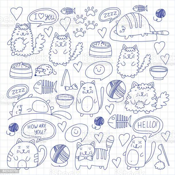 Cute kittens cat icons kids drawing children drawing doodle domestic vector id842432702?b=1&k=6&m=842432702&s=612x612&h=zji2git7ljnwckr9zcallfhrtfrpavui2whupjwp1eq=