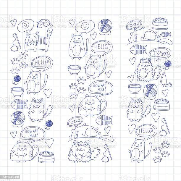 Cute kittens cat icons kids drawing children drawing doodle domestic vector id842433088?b=1&k=6&m=842433088&s=612x612&h=21kbwu98ccvuilsfreuwpgs0vpnt2guosgftifs 7nk=