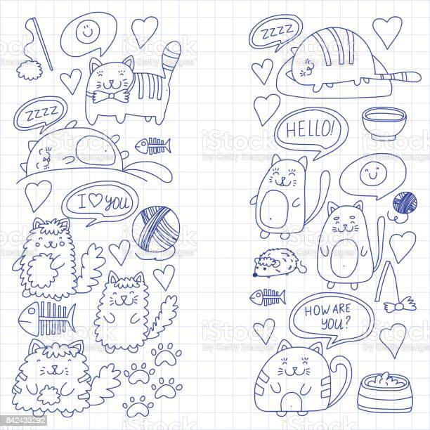 Cute kittens cat icons kids drawing children drawing doodle domestic vector id842433292?b=1&k=6&m=842433292&s=612x612&h=6kfbahvaphyoziq7ydtxyncbfi7 mn 1oy0z4s9cyes=