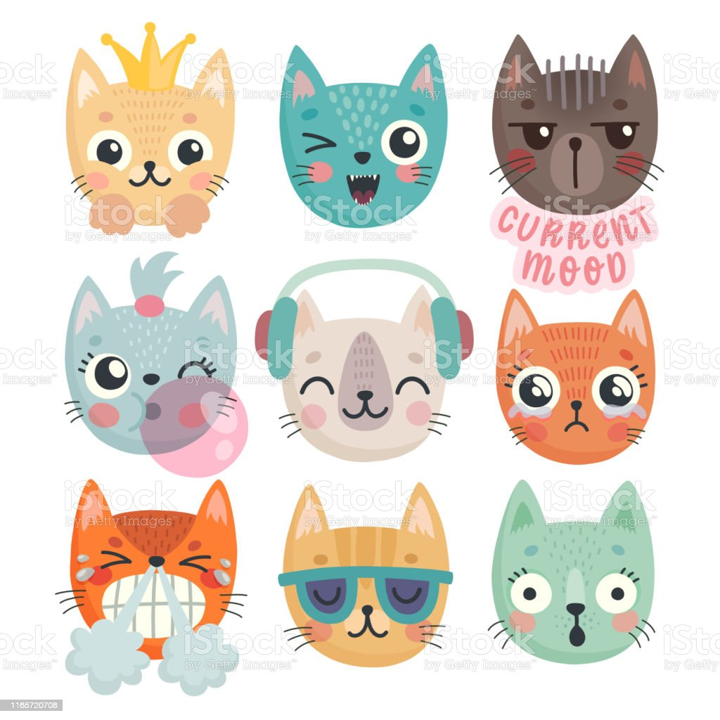 Cute kittens. Characters with different emotions - joy, anger,...