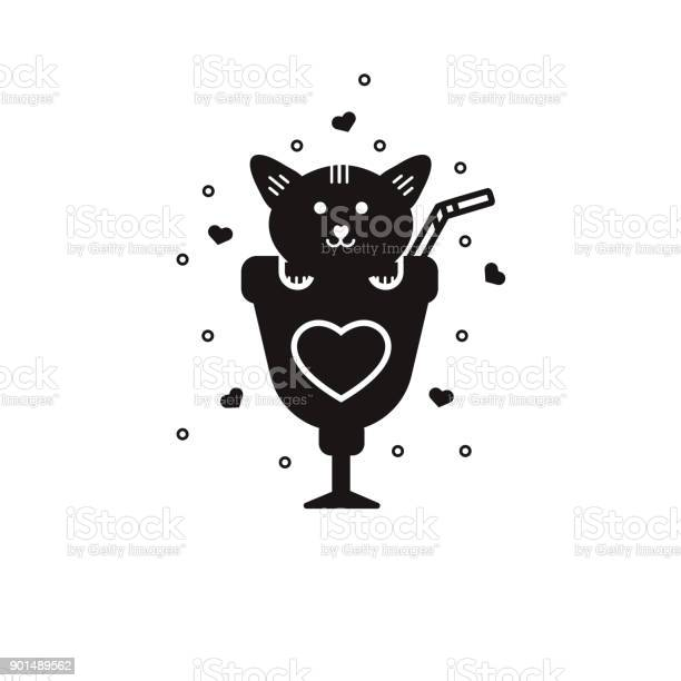Cute kitty into cocktail glass black silhouette valentines day vector id901489562?b=1&k=6&m=901489562&s=612x612&h=hxoakihxlxqcj oyamcbwotxrmchwjuoxqtfyh im5k=