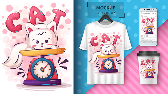 Cute kitty poster and merchandising