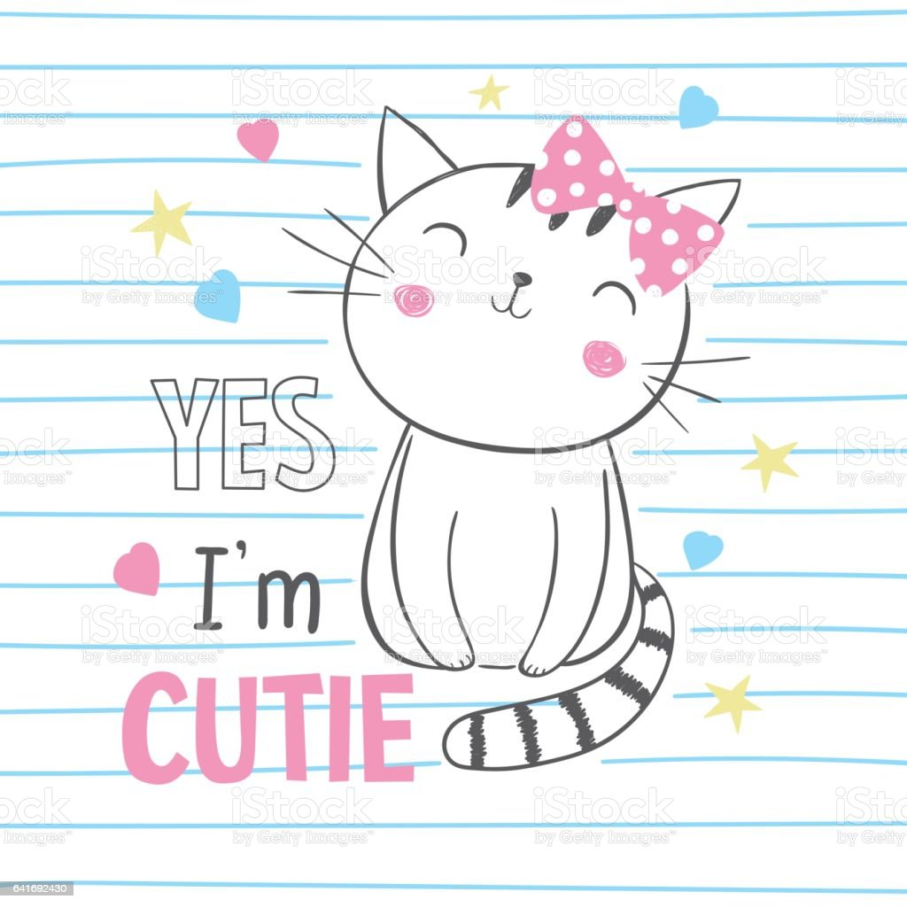 Cute kitty. T-shirt graphic for kid's clothing vector art illustration